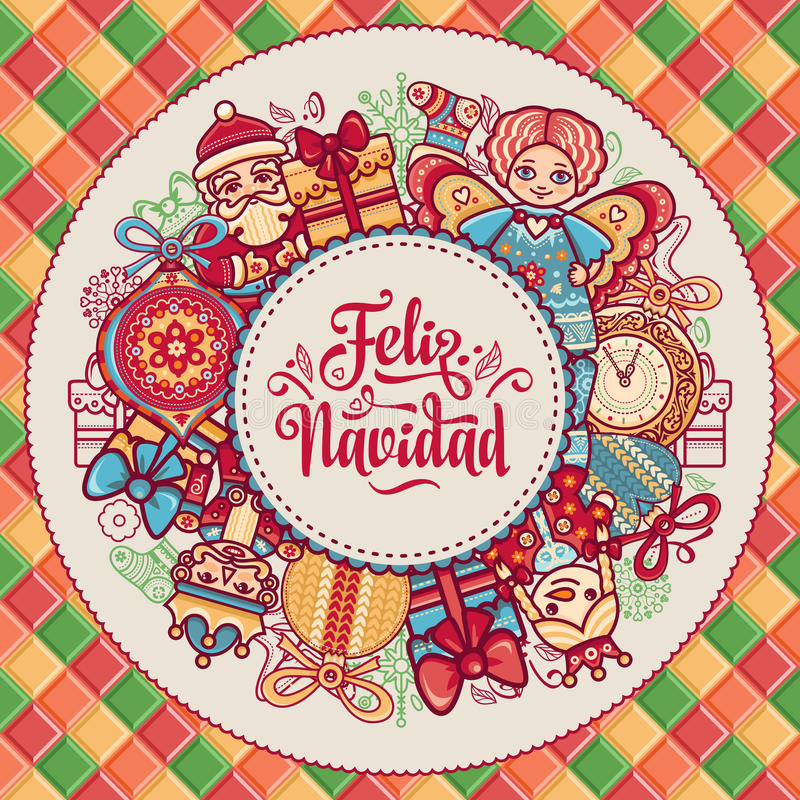 Feliz Navidad Xmas-kort på spanskt språk stock illustrationer