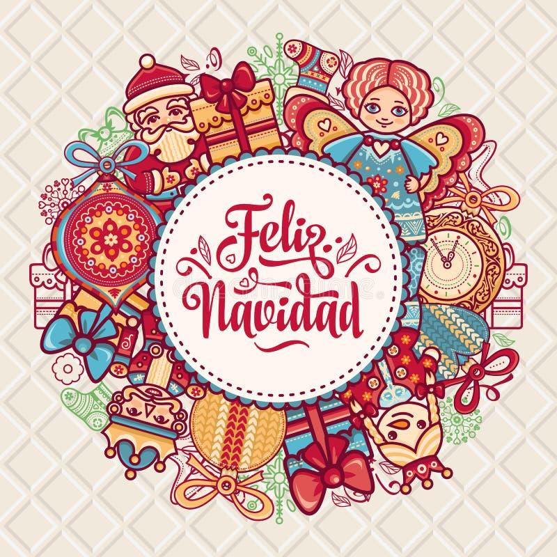 Feliz Navidad Xmas-kort på spanskt språk vektor illustrationer