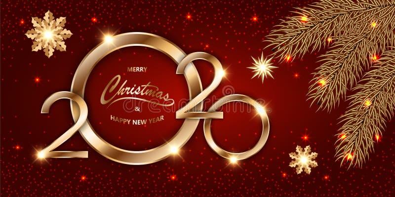 Feliz Navidad y Feliz Año Nuevo 2020 brillante fondo rojo Navidad con texto dorado, confetti, ramas de abeto y estrellas brillant stock de ilustración