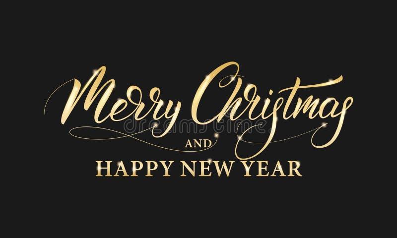 Feliz Navidad y Feliz Año Nuevo Caligrafía brillante de las letras del oro por vacaciones de invierno ilustración del vector