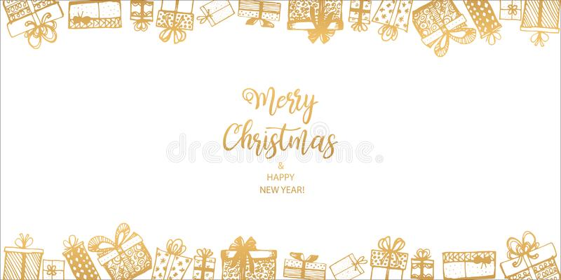 Feliz Navidad y Feliz Año Nuevo Capítulo hecho de regalos Mano drenada libre illustration