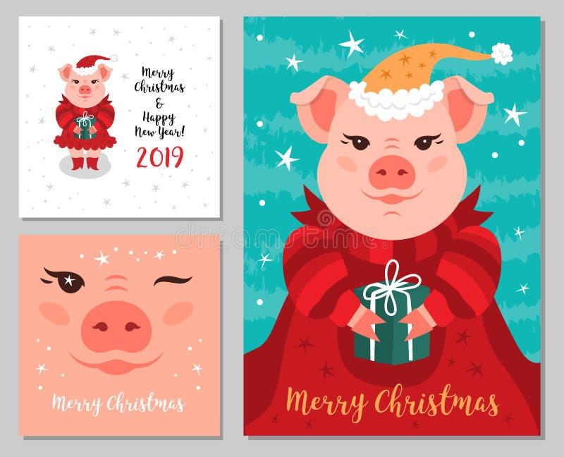Feliz Navidad y Año Nuevo 2019, cerdo rosado guarro, divertido lindo de las tarjetas de felicitación Sistema de tarjetas de felic ilustración del vector