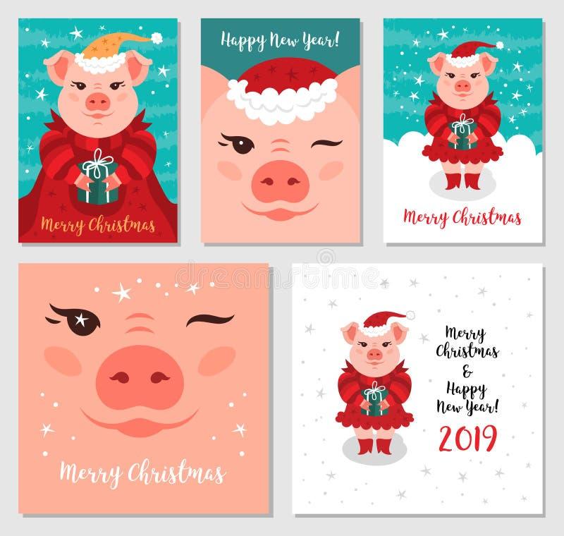 Feliz Navidad y Año Nuevo 2019 cerdos de la Navidad, de las tarjetas de felicitación divertidos Cerdo Santa Claus, tarjetas de Na libre illustration
