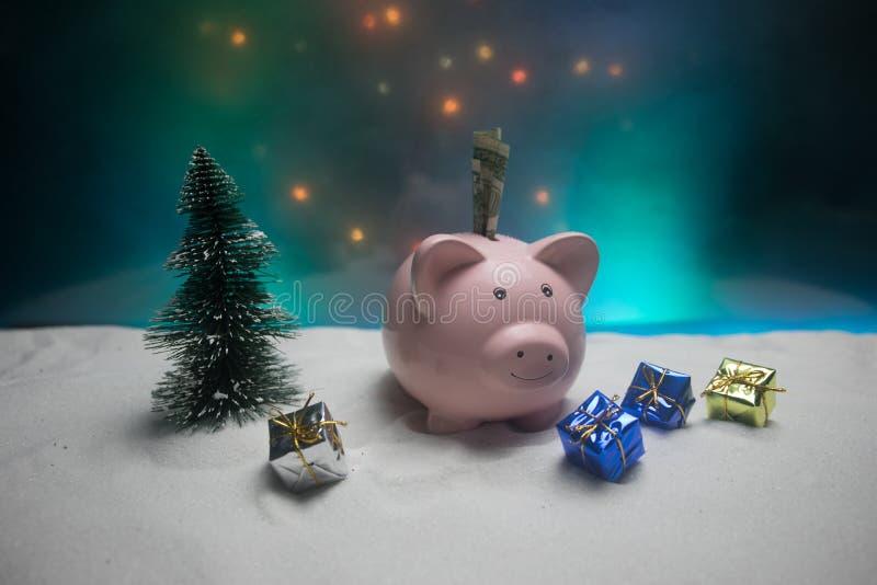 Feliz Navidad y Feliz Año Nuevo Año Nuevo chino del cerdo, símbolo 2019 para la tarjeta de felicitaciones Foco selectivo suave Ce fotografía de archivo libre de regalías