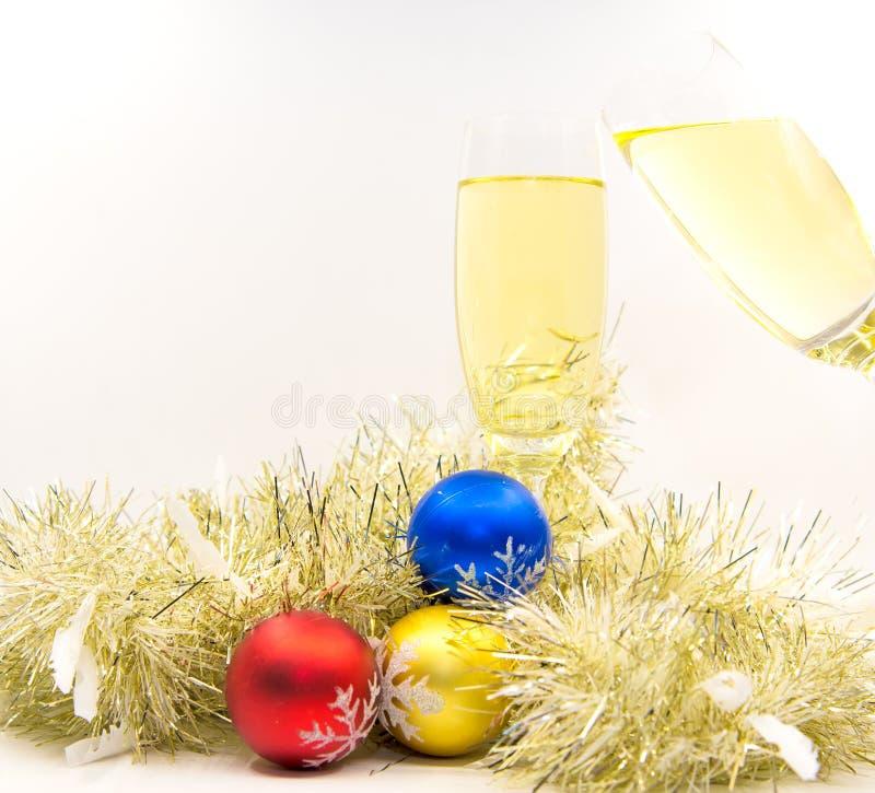 Feliz Navidad y Feliz Año Nuevo con alegría del champán imagen de archivo libre de regalías