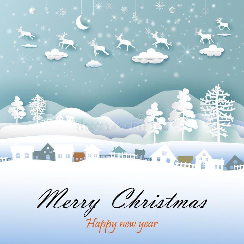 Feliz Navidad y Feliz Año Nuevo con arte del papel libre illustration