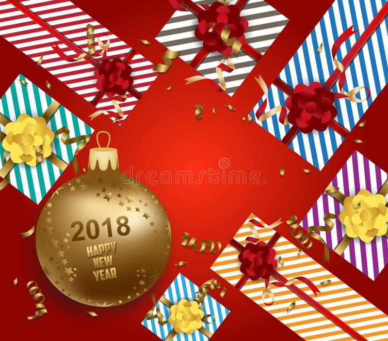 Feliz Navidad y Feliz Año Nuevo 2018 con la bola del oro del regalo libre illustration