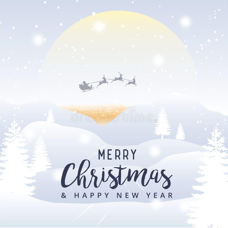 Feliz Navidad y Feliz Año Nuevo con Papá Noel en un trineo con r ilustración del vector