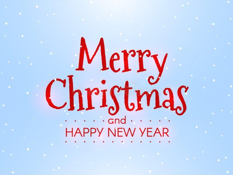 Feliz Navidad y Feliz Año Nuevo Concepto del invierno en fondo azul Inscripción brillante con el contraluz rojo Navidad ilustración del vector