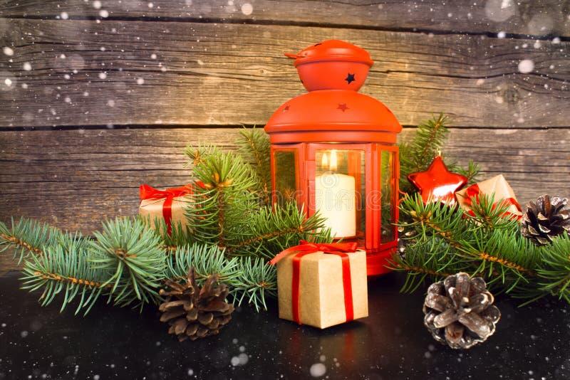Feliz Navidad y Feliz Año Nuevo Concepto rústico foto de archivo