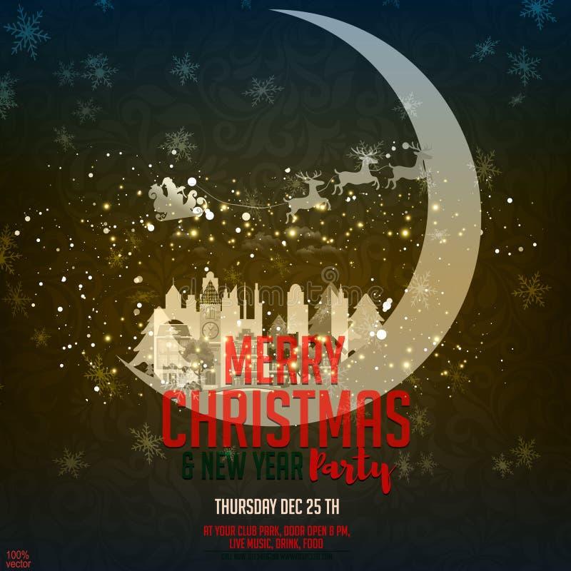 Feliz Navidad y Feliz Año Nuevo Ejemplo con la luna y la ciudad medieval y Santa Claus en el cielo nocturno del brillo libre illustration