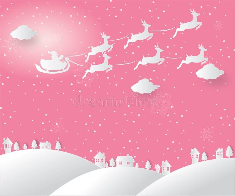 Feliz Navidad y Feliz Año Nuevo Ejemplo de Papá Noel en el cielo que viene a la ciudad, a la Feliz Navidad del concepto y a nueva stock de ilustración