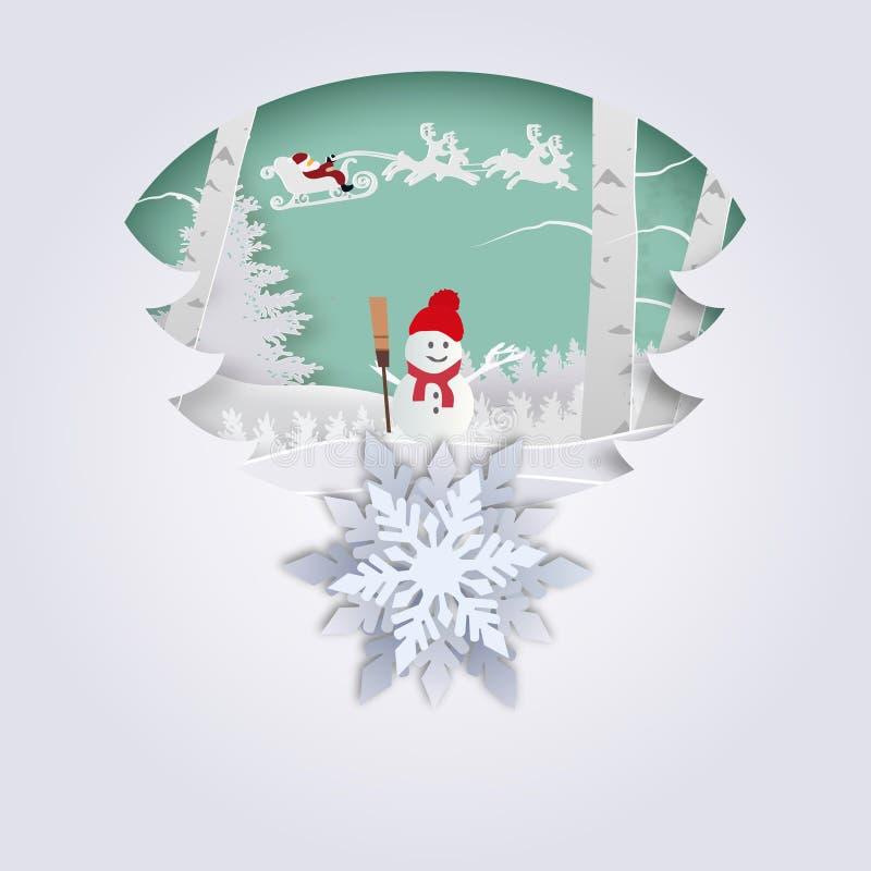 Feliz Navidad y Feliz Año Nuevo Ejemplo de Santa Claus en el cielo que viene a la ciudad, al arte de papel y al estilo del arte stock de ilustración