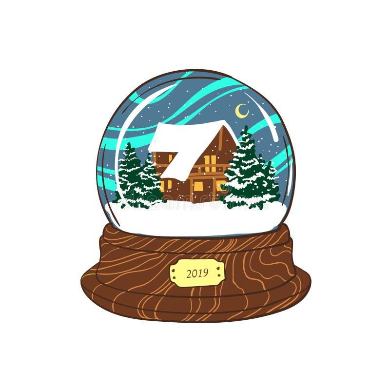 Feliz Navidad y Feliz Año Nuevo El globo de la nieve con las montañas del invierno ajardina aislado en el fondo blanco stock de ilustración