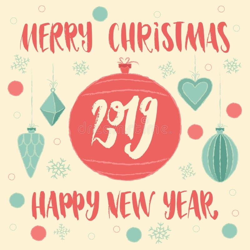 Feliz Navidad y Feliz Año Nuevo 2019 en bola de la Navidad Tarjeta de felicitación con tipografía de las letras de la mano ilustración del vector