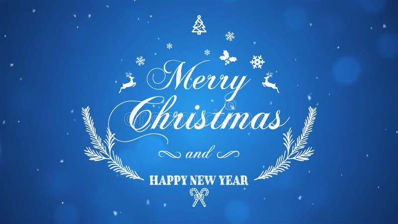 Feliz Navidad y Feliz Año Nuevo en fondo azul imagen de archivo libre de regalías