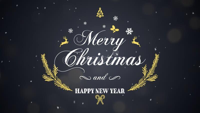 Feliz Navidad y Feliz Año Nuevo en fondo oscuro imágenes de archivo libres de regalías