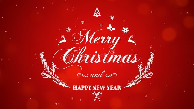 Feliz Navidad y Feliz Año Nuevo en fondo rojo foto de archivo