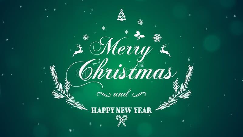 Feliz Navidad y Feliz Año Nuevo en fondo verde imagenes de archivo