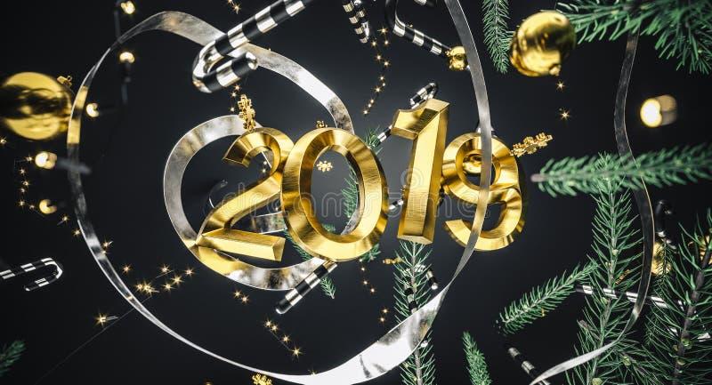 Feliz Navidad y Feliz Año Nuevo Fondo con el rectángulo de regalo ilustración 3D Elementos de la decoración de Navidad fotos de archivo