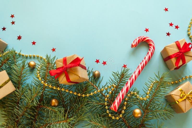 Feliz Navidad y Feliz Año Nuevo Fondo para una tarjeta de la invitación o una enhorabuena foto de archivo libre de regalías