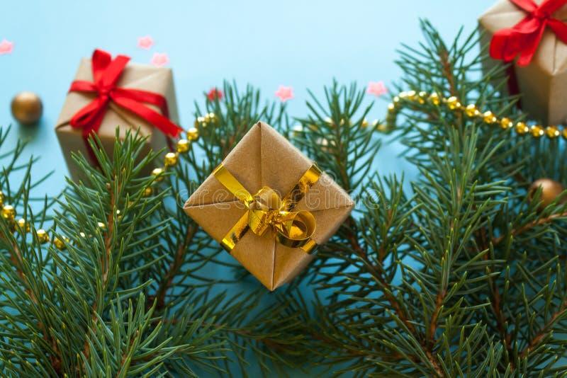 Feliz Navidad y Feliz Año Nuevo Fondo para una tarjeta de la invitación o una enhorabuena imágenes de archivo libres de regalías