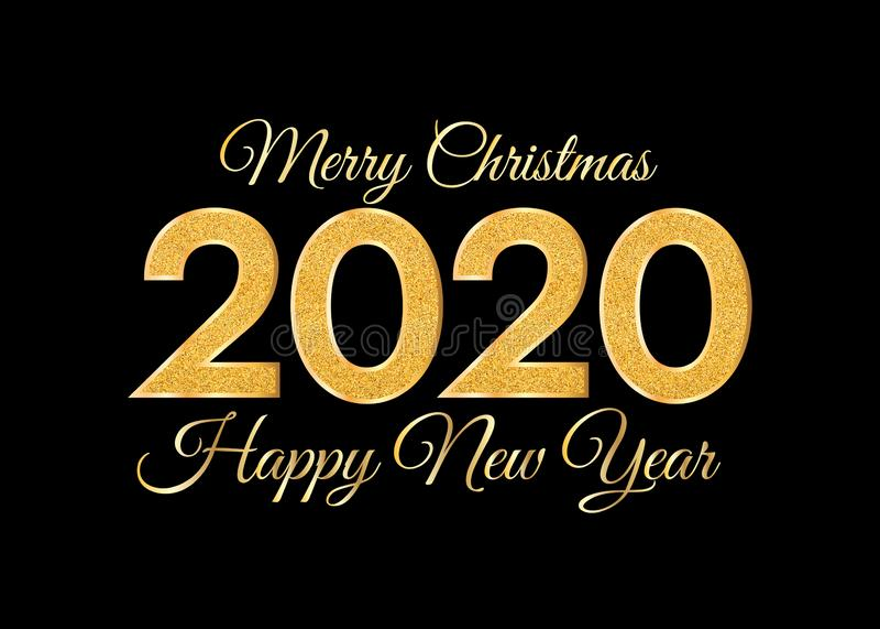Feliz Navidad 2020 y Feliz A?o Nuevo N?meros de oro en fondo oscuro Tarjeta 2020 de felicitaci?n del A?o Nuevo stock de ilustración