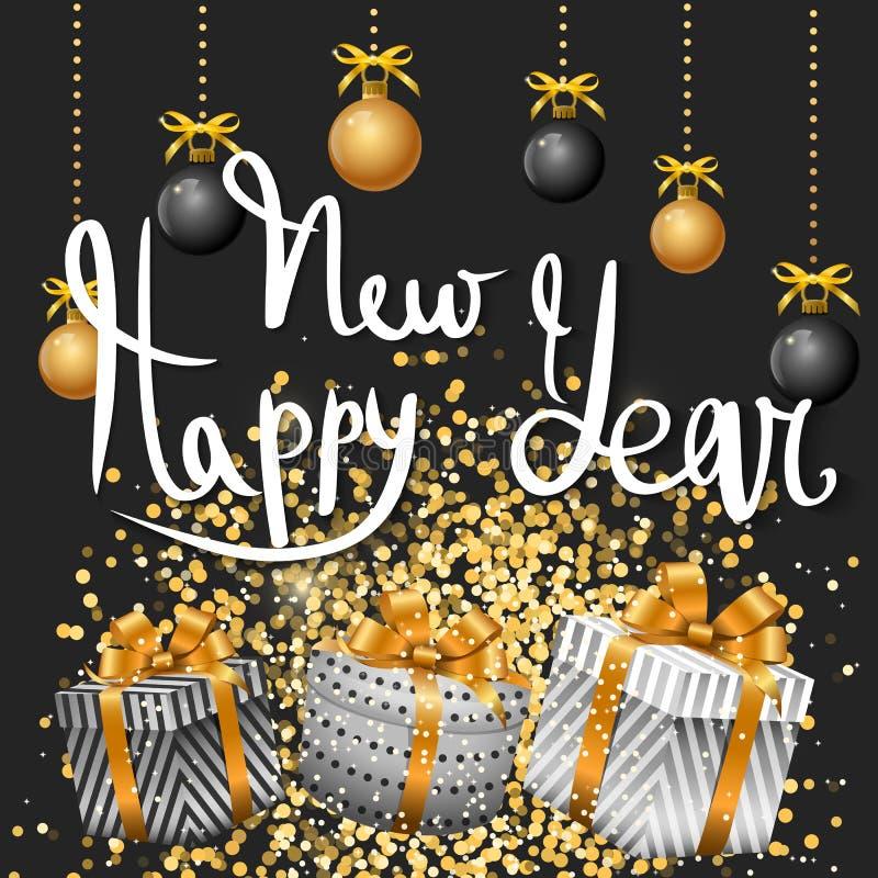 Feliz Navidad y Feliz Año Nuevo oro ilustración del vector
