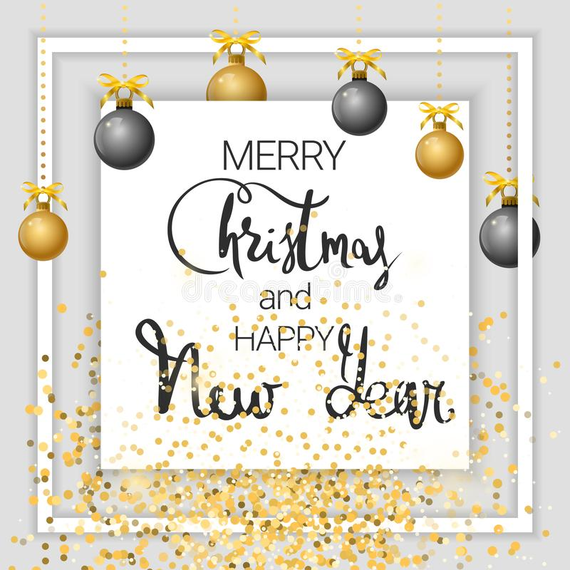 Feliz Navidad y Feliz Año Nuevo oro libre illustration