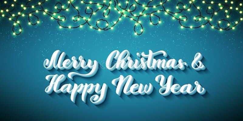 Feliz Navidad y Feliz Año Nuevo Plantilla para la tarjeta de felicitación del día de fiesta Ilustración del vector ilustración del vector