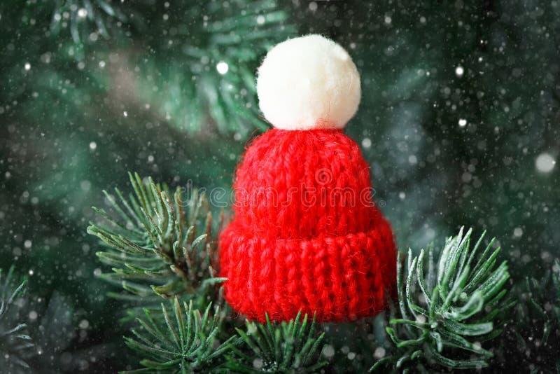 Feliz Navidad y Feliz Año Nuevo Poco sombrero hecho punto en el árbol de navidad Fondo con el espacio de la copia fotografía de archivo libre de regalías