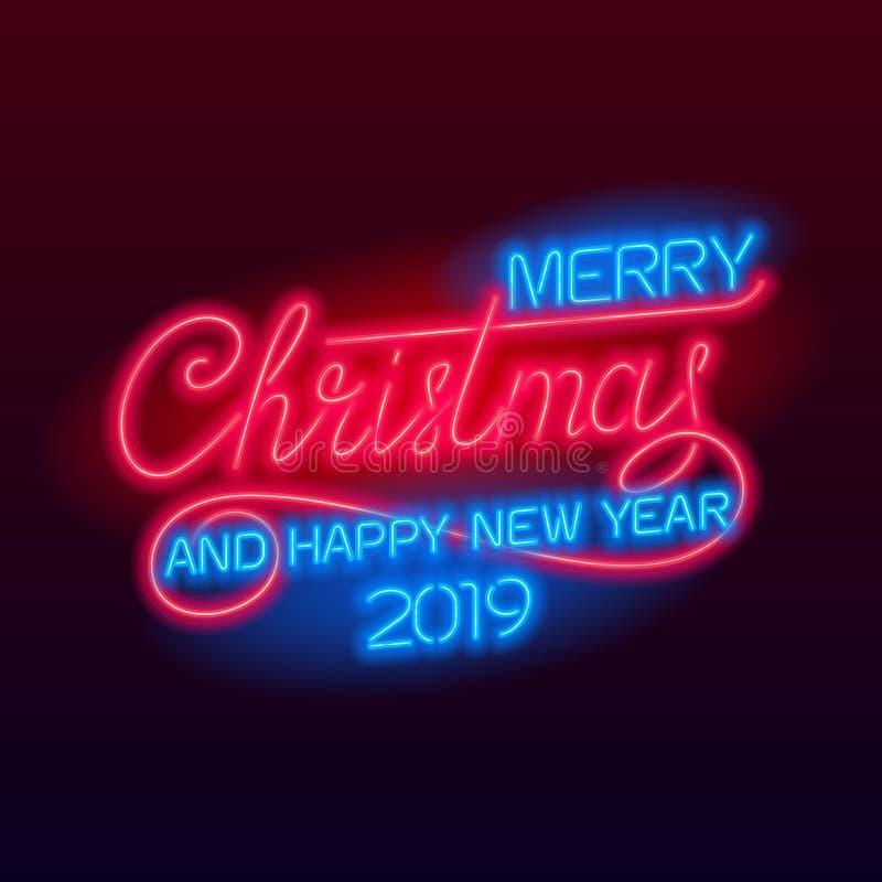 Feliz Navidad y Feliz Año Nuevo 2019 que ponen letras stock de ilustración