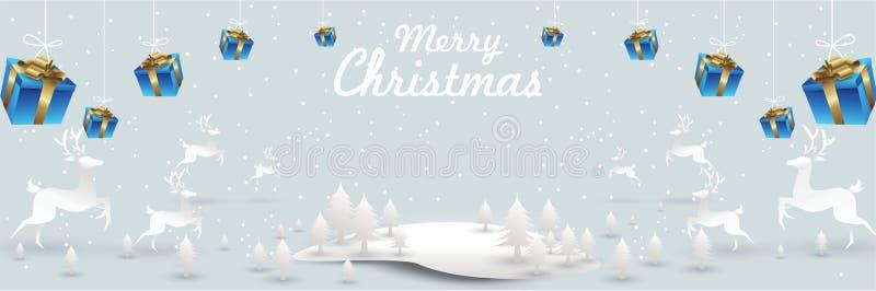 Feliz Navidad y Feliz Año Nuevo Reno de Papá Noel en escena de la nieve de la Navidad cartel de la tarjeta de felicitación del ej stock de ilustración