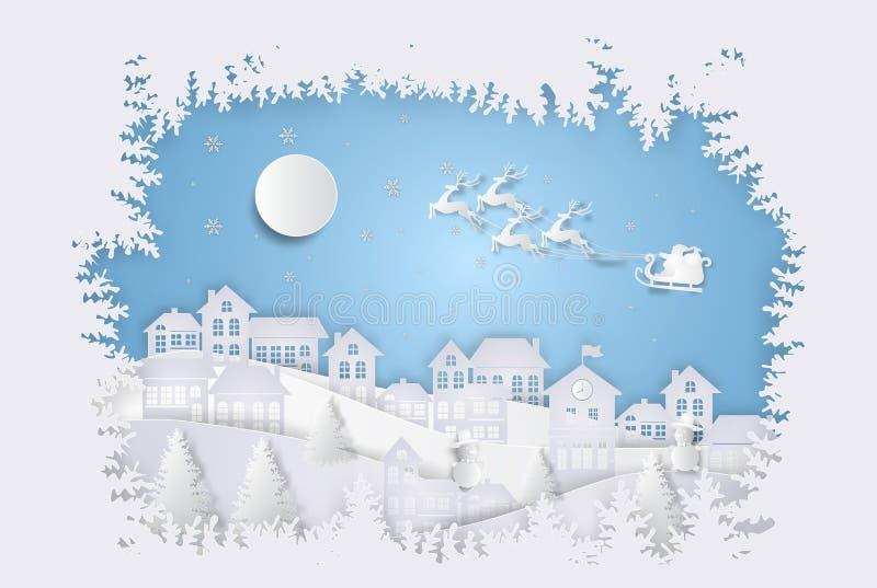 Feliz Navidad y Feliz Año Nuevo Santa Claus en el comin del cielo ilustración del vector