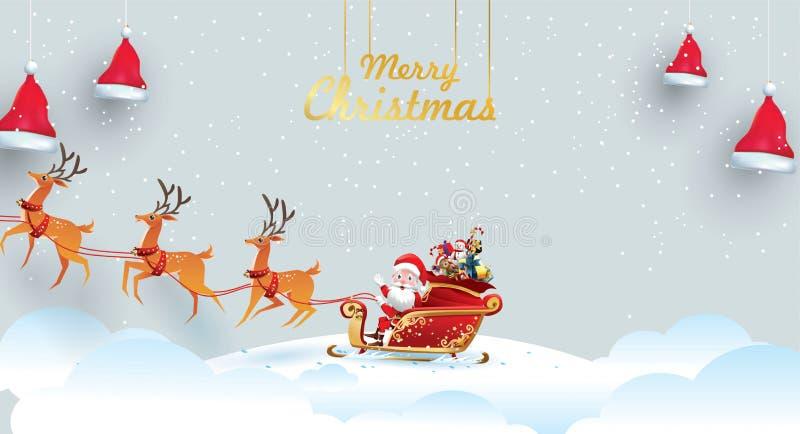 Feliz Navidad y Feliz Año Nuevo Santa Claus es monta el trineo del reno con un saco de regalos en escena de la nieve de la Navida stock de ilustración