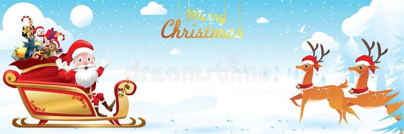 Feliz Navidad y Feliz Año Nuevo Santa Claus es monta el trineo del reno con un saco de regalos en escena de la nieve de la Navida libre illustration
