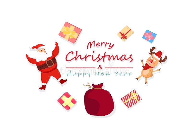 Feliz Navidad y Feliz Año Nuevo, Santa Claus, reno y soldado enrollado en el ejército stock de ilustración