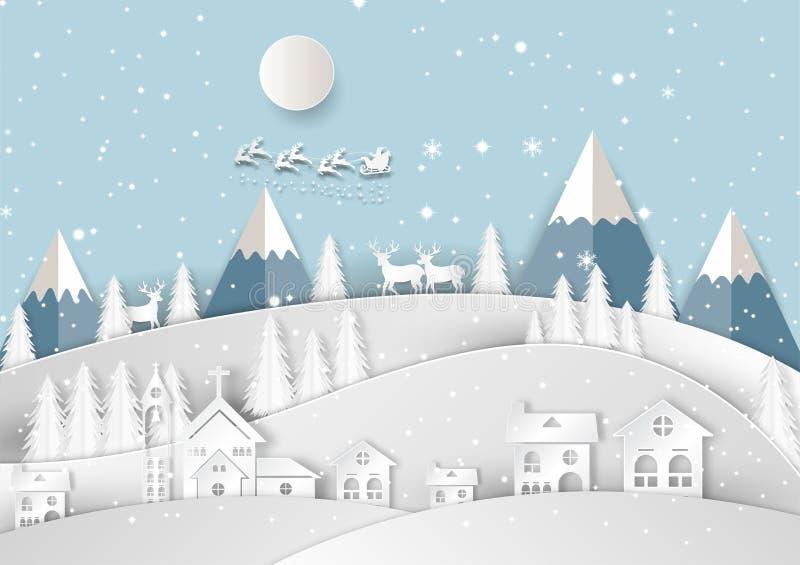 Feliz Navidad y Feliz Año Nuevo, silueta Santa Claus del partido del año del final del festival de Navidad y abstrac de la tarjet libre illustration