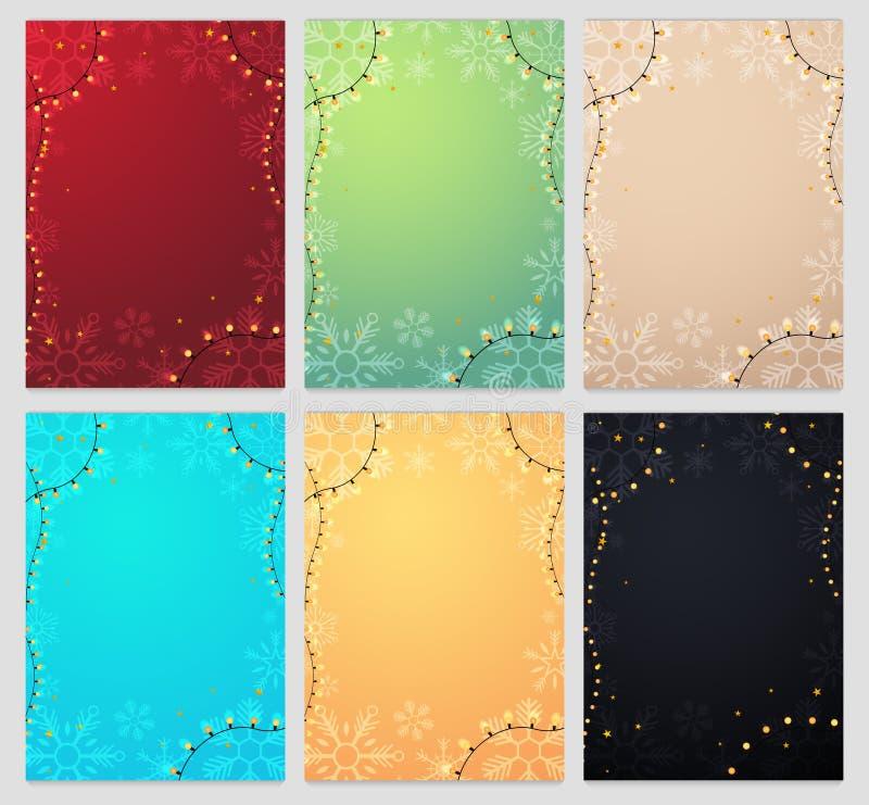 Feliz Navidad y Feliz Año Nuevo Sistema de plantillas de los copos de nieve Invierno Ilustración del vector stock de ilustración