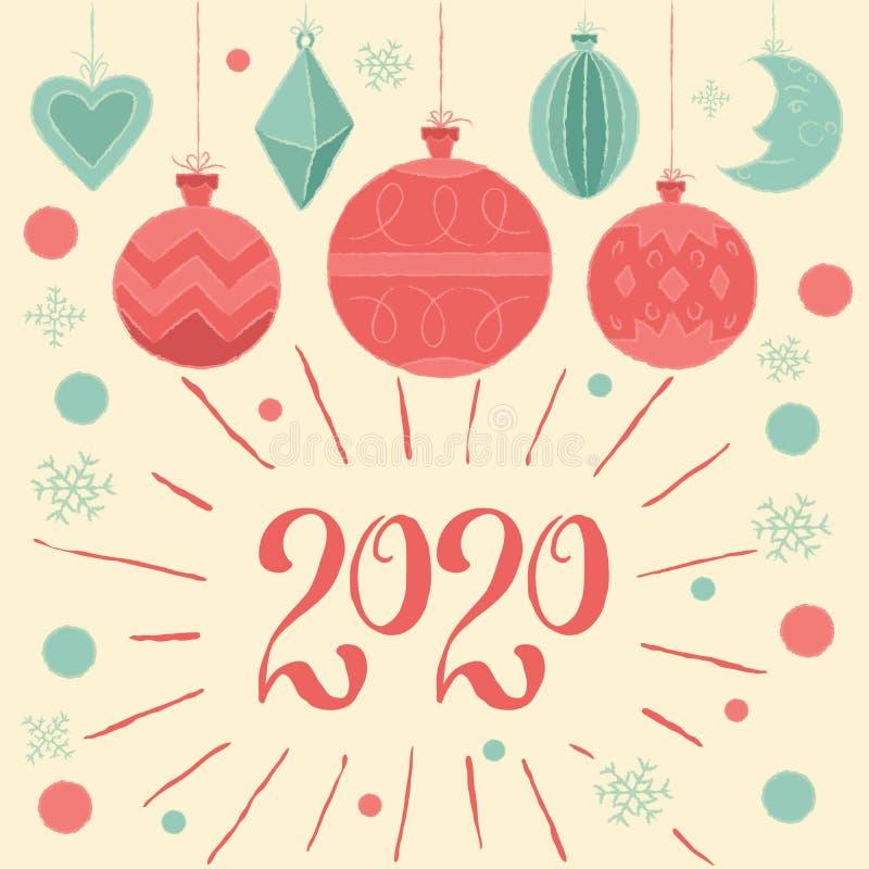 2020 Feliz Navidad y Feliz Año Nuevo! Tarjeta de felicitación con decoraciones navideñas y tipo de letra a mano stock de ilustración