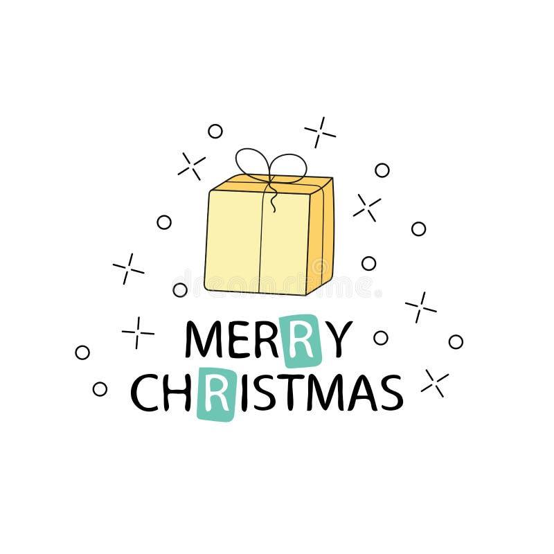 Feliz Navidad y Feliz Año Nuevo Tarjeta de felicitación de la Navidad con caligrafía ilustración del vector