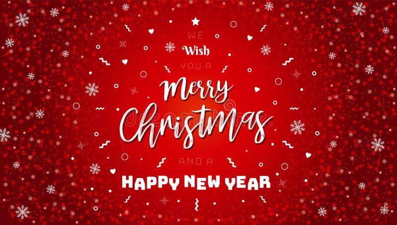 Feliz Navidad y Feliz Año Nuevo tipográficas en fondo rojo con textura del brillo Tarjeta de Navidad de la celebración, bandera N stock de ilustración