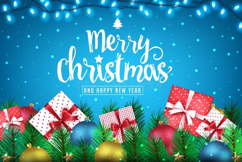 Feliz Navidad y bandera creativa realista de la Feliz Año Nuevo con las porciones de presentes libre illustration