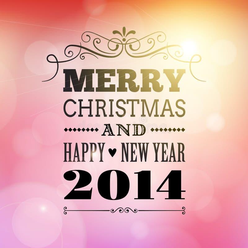 Feliz Navidad y cartel 2014 de la Feliz Año Nuevo ilustración del vector