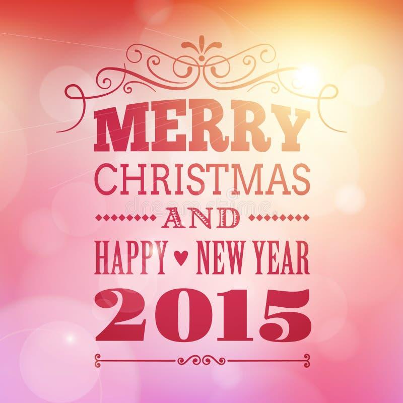 Feliz Navidad y cartel 2015 de la Feliz Año Nuevo stock de ilustración