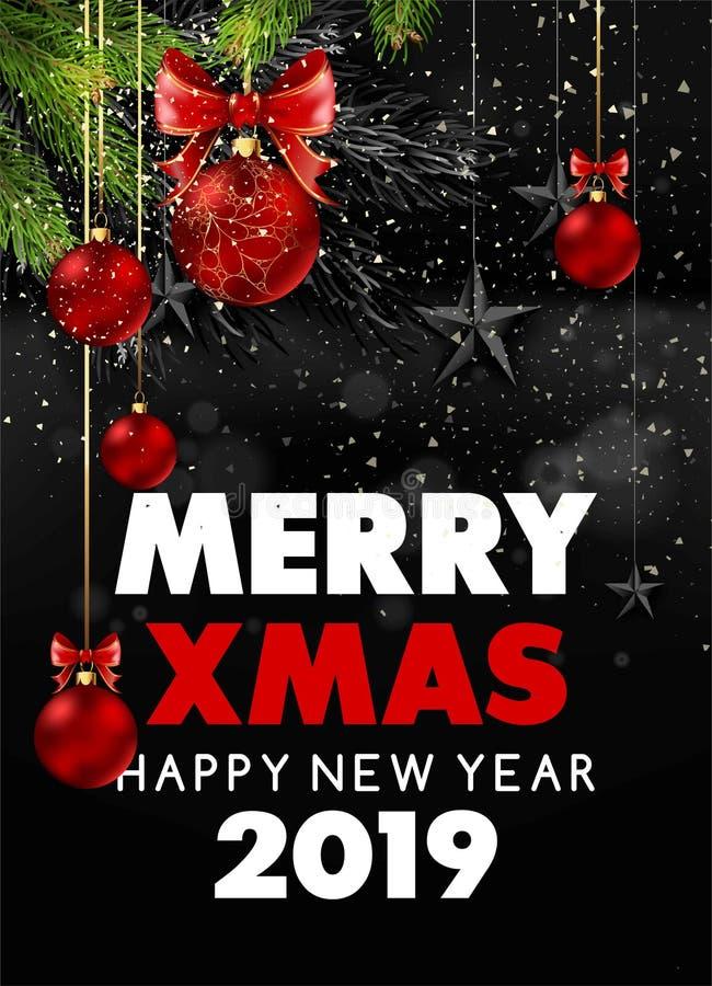 Feliz Navidad y cartel nevoso negro de la Feliz Año Nuevo 2019 con las ramas de árbol de la piel stock de ilustración
