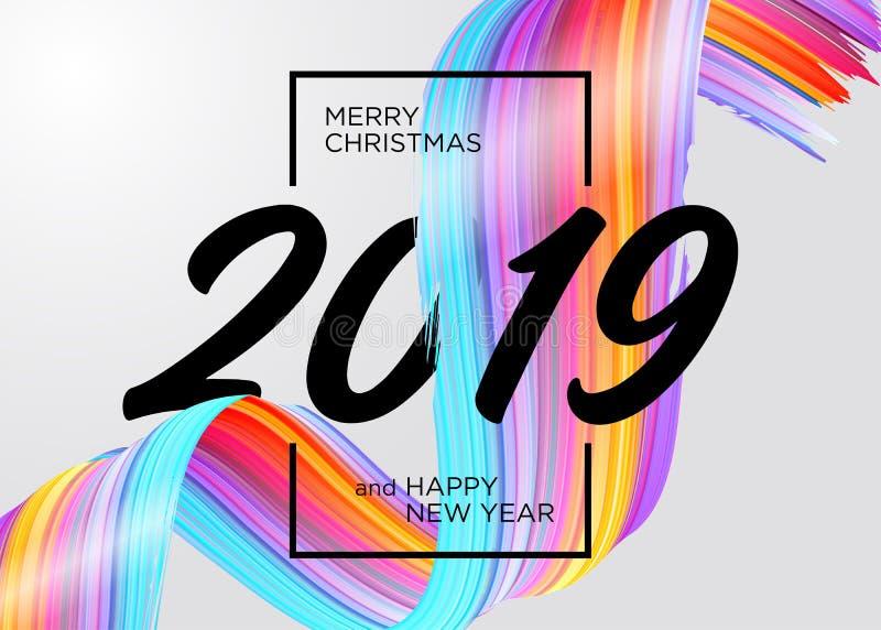 Feliz Navidad 2019 y diseño de tarjeta de la Feliz Año Nuevo libre illustration
