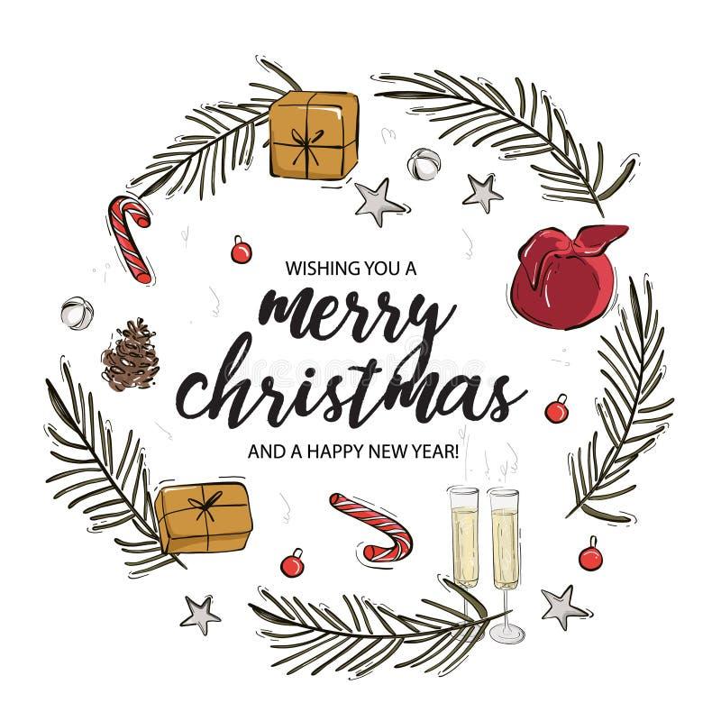 Feliz Navidad y el concepto del círculo de Año Nuevo Feliz Tarjeta de felicitación navideña con caligrafía, regalo, rama de abeto imagen de archivo
