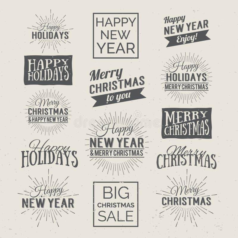 Feliz Navidad y etiquetas caligráficas del diseño de la Feliz Año Nuevo Días de fiesta que ponen letras para la invitación, la ta ilustración del vector