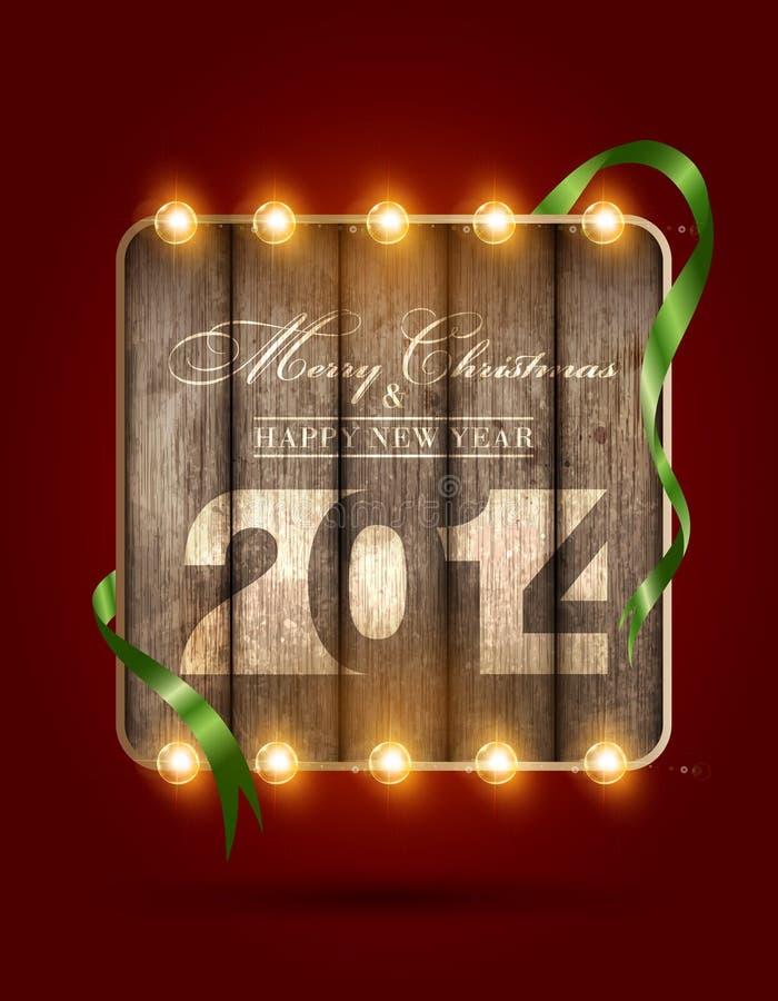 Feliz Navidad y Feliz Año Nuevo 2014 stock de ilustración